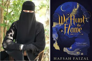 The author, Hafsah Faizal and the cover art for We Hunt The Flame.
